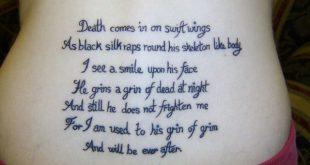 tatouage phrase bas du dos poeme